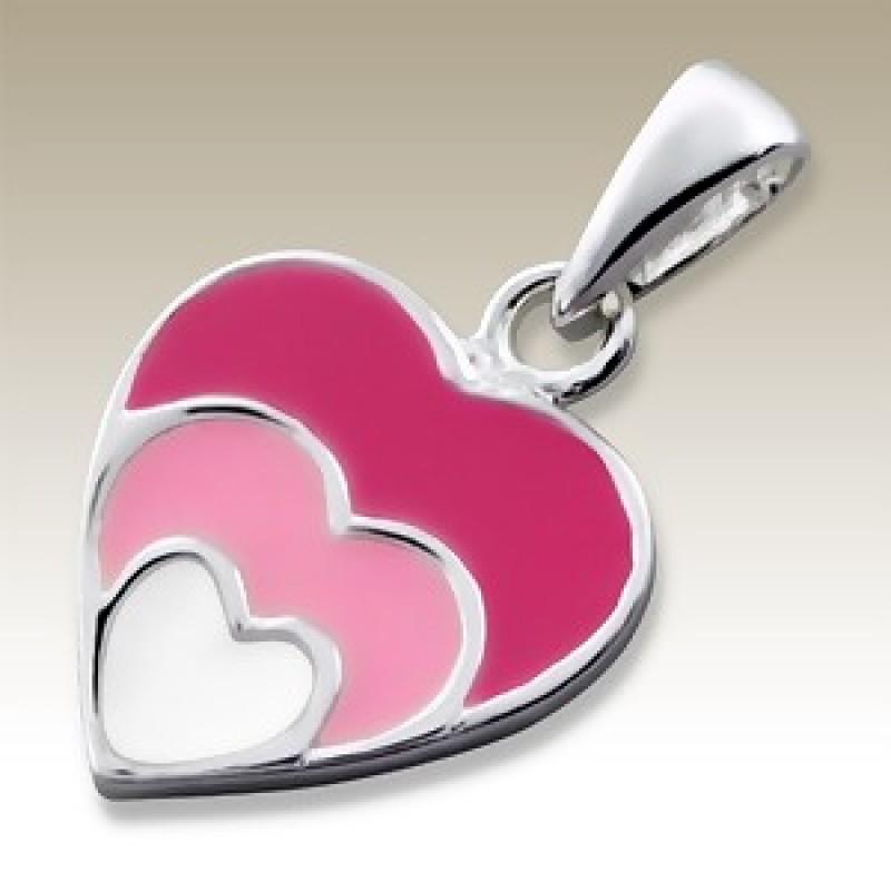 Kids Silver Pink Heart Pendant