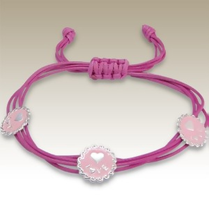 Kids Sterling Silver &  Pink Cord Bracelet