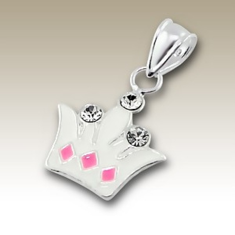 Kids Silver Tiara Pendant with Crystal Stones