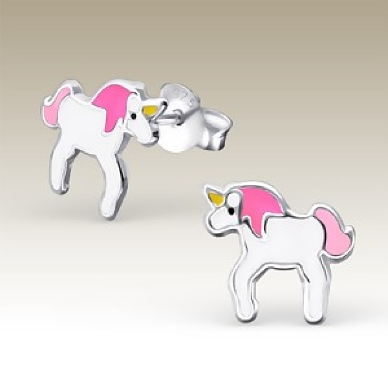 Kids Silver Unicorn Stud Earrings