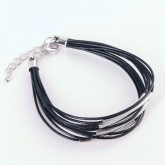 Phobe Fine Stranded Leather Bracelet - Silver