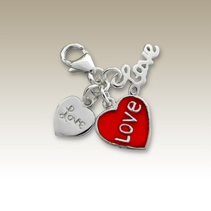 Sterling Silver 3 Love Charm