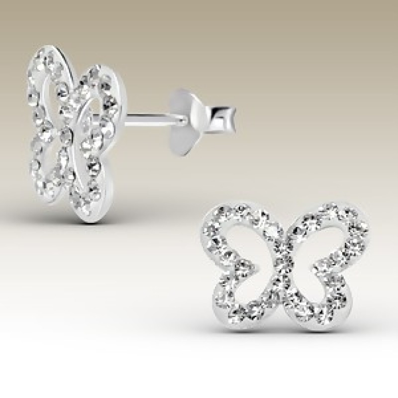 Kids Crystal Butterfly Stud Earrings