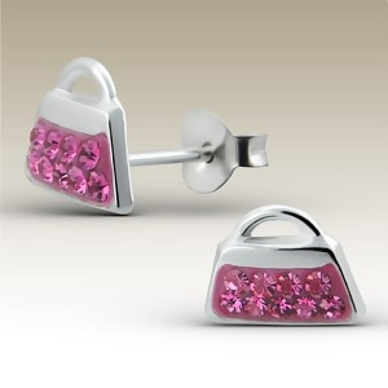 Kids Crystal Handbag Stud Earrings