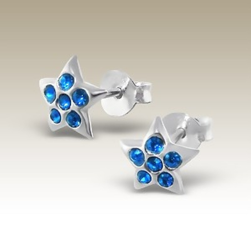 Kids Crystal Star Stud Earrings