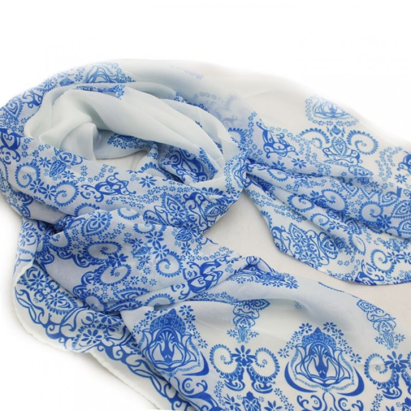 Blue and White Vintage Henna Print Scarf