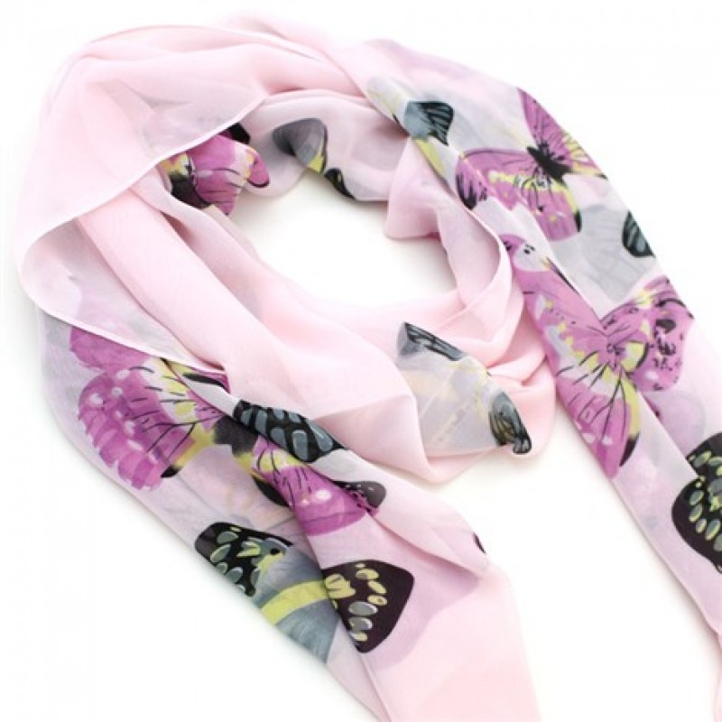 Fairytale Pink Butterfly Print Scarf