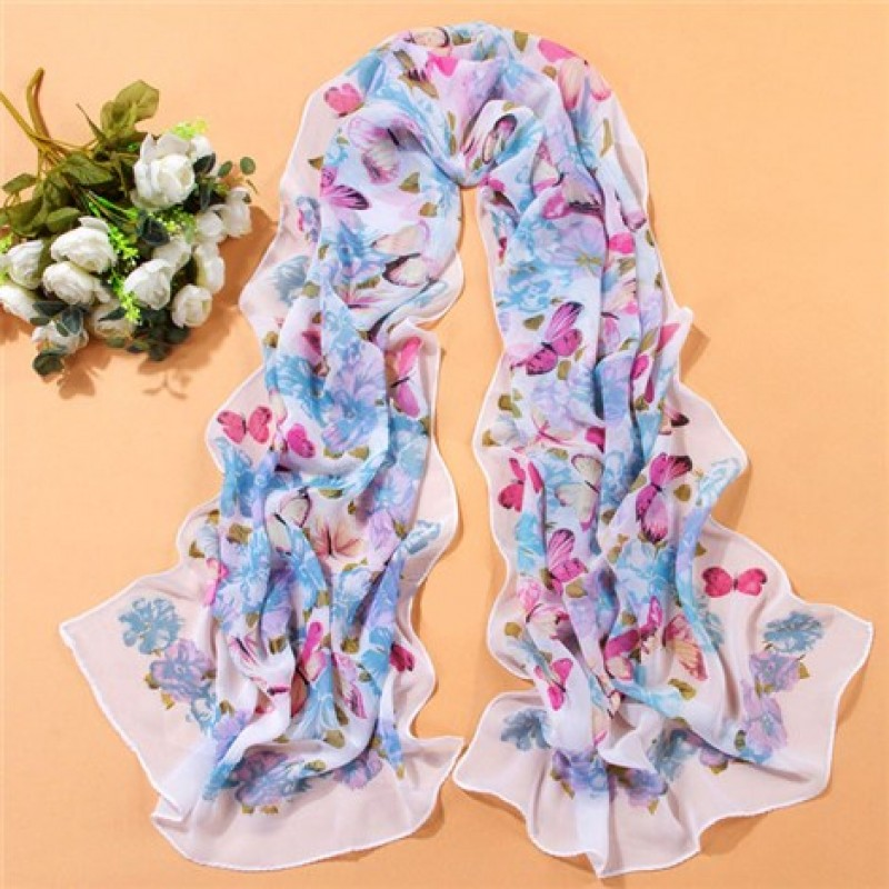 Blue & Pink Floral Butterfly Print Scarf